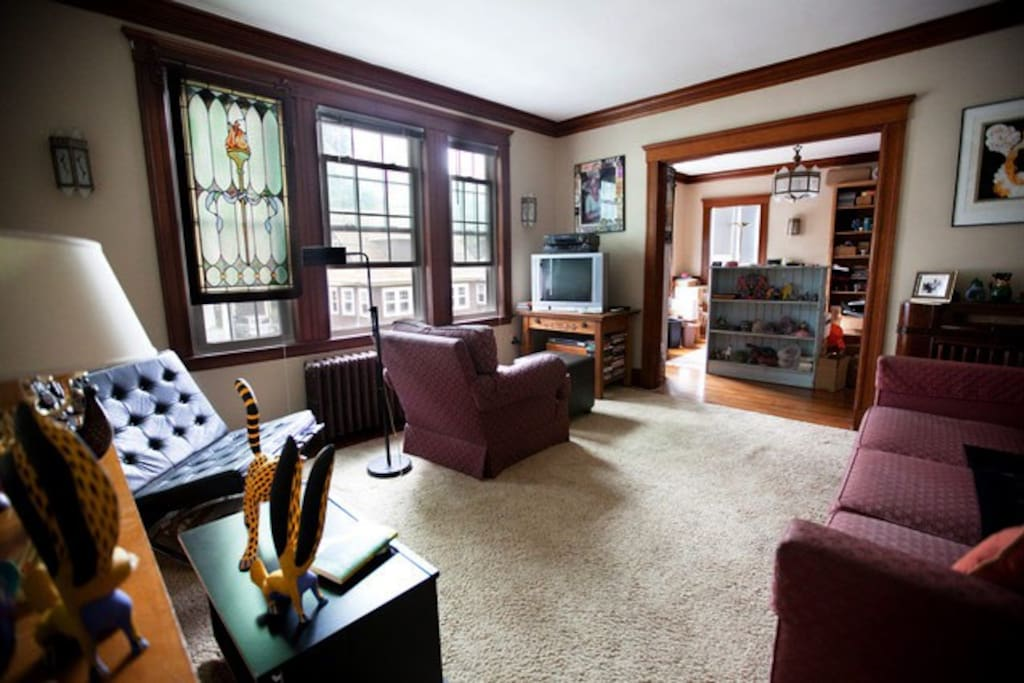Here is a view of the living room, taken with a wide-angle lens.