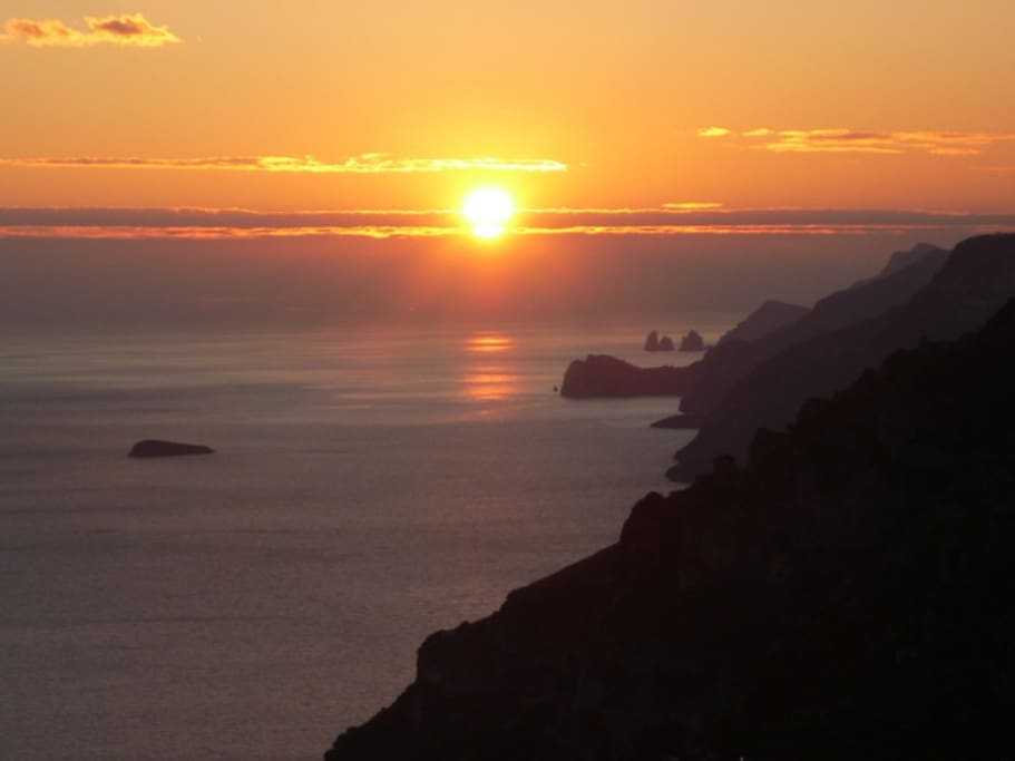 Wonderful sunset with amazing view on the Positano's Coast and Capri's islands