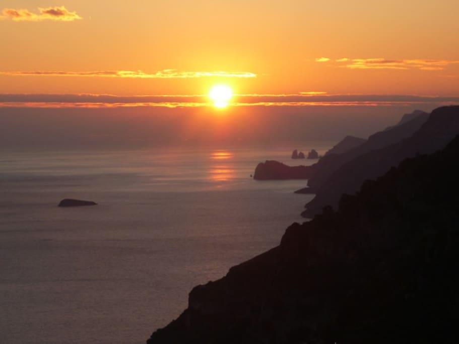 Wonderful sunset with amazing views over the Positano Coast and Capri islands