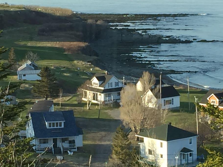 maison en bas à gauche avec le toit bleu