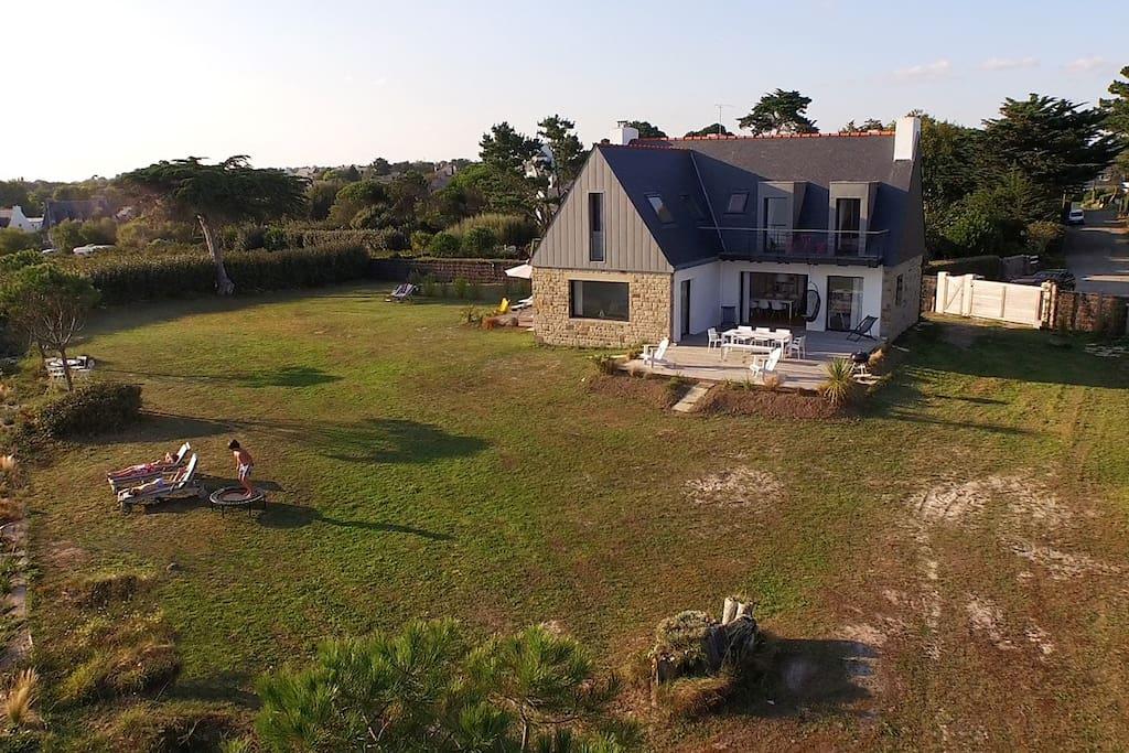 La villa de la plage vue panoramique : en face, l'océan