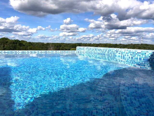 El roof top privado con piscina infinito / The private roof top terrace and infinity pool
