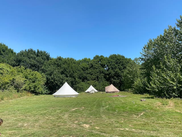 3 Bell Tents Private Field Campfire for 15 people