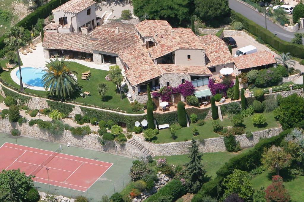 Service'd Lux Property in St Paul de Vence seen from the air
