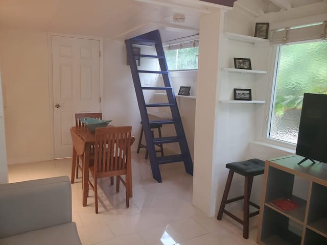 Ladder leading to bedroom
