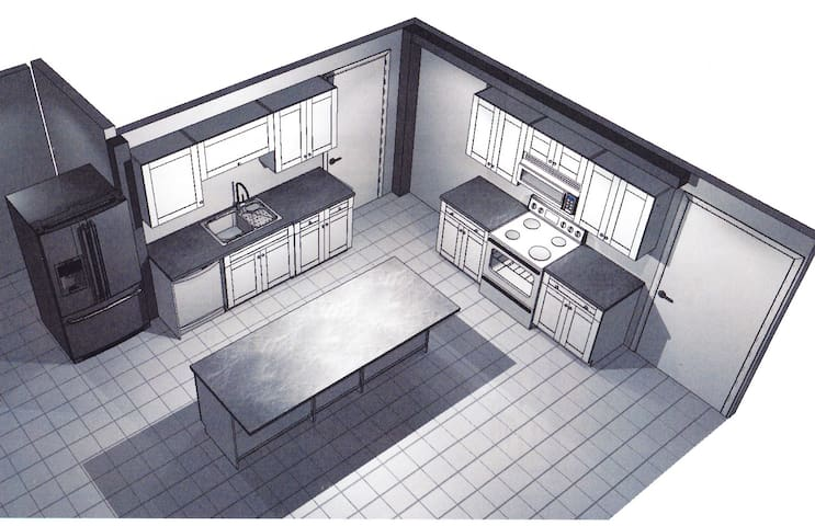 Our actual kitchen design plan! The new space will feature white cabinets, granite countertops, & stainless steel appliances. It will be available to all renters starting in late December 2019!