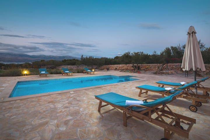 Beachfront villa Boris with pool & full privacy