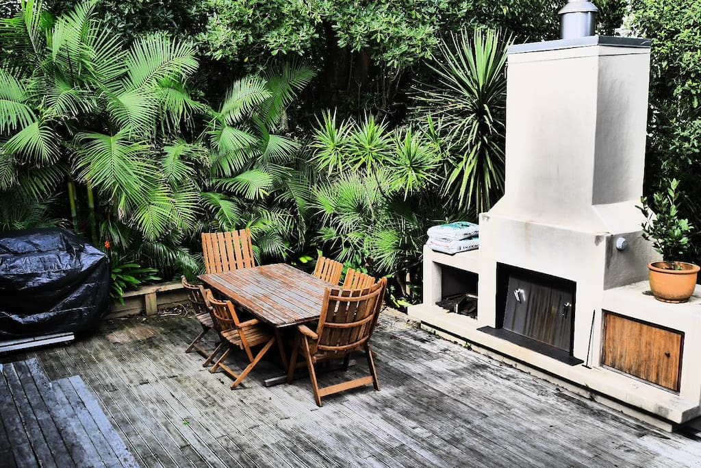 Deck with outside fire