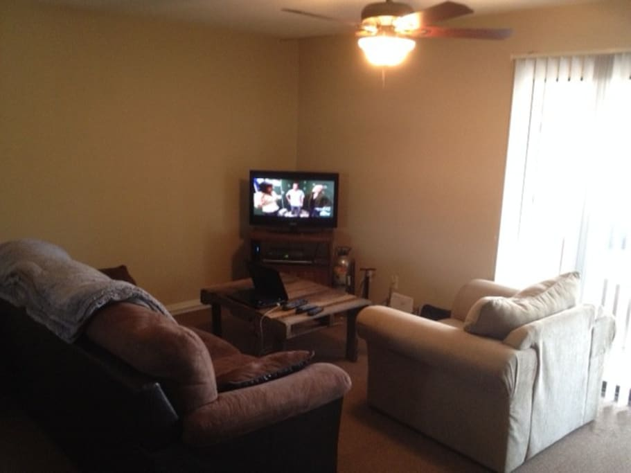 Livingroom with tv, dvd, seating and fan