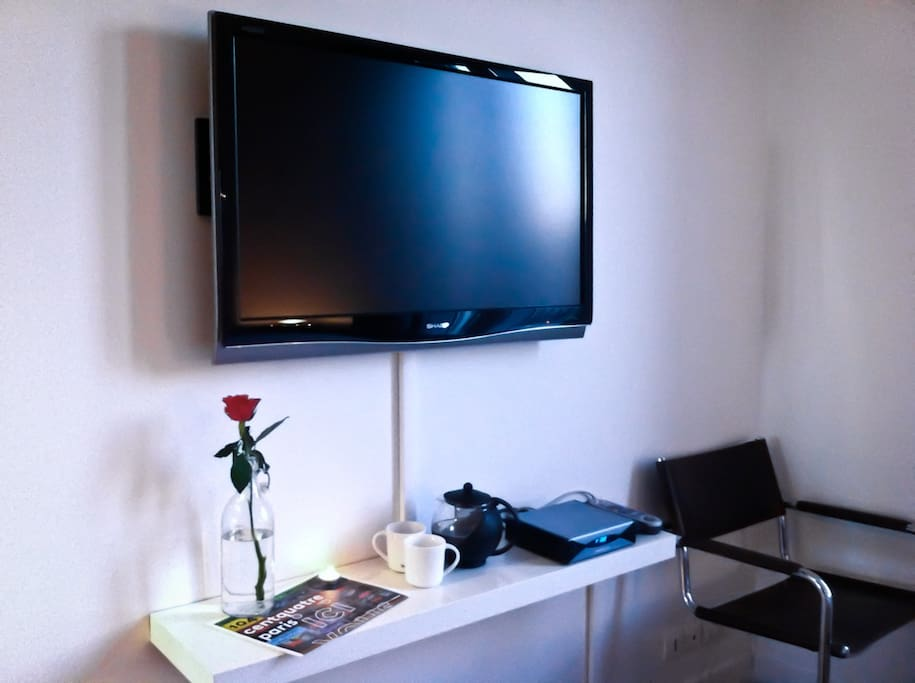 The bedroom's large screen