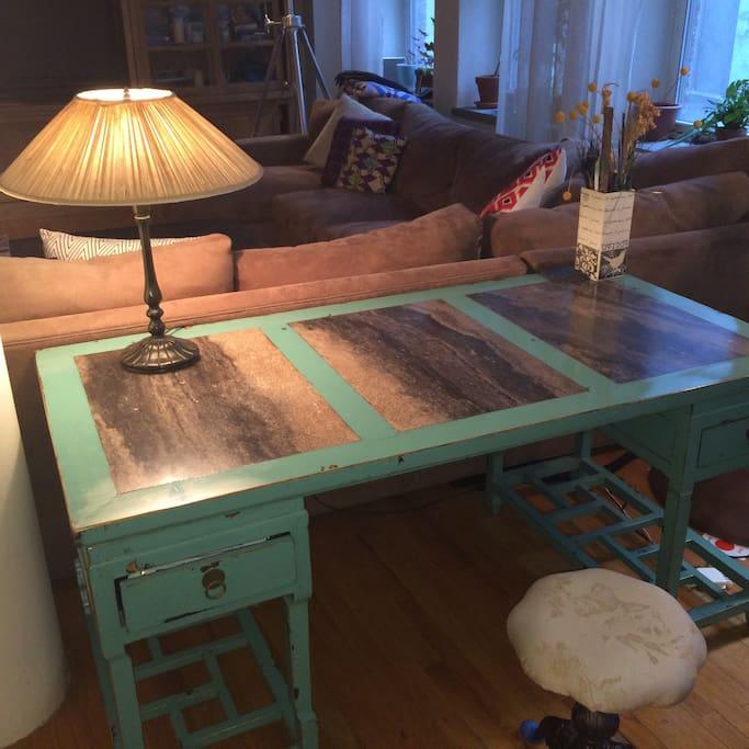 Hand designed marble desk for late night scribblings..