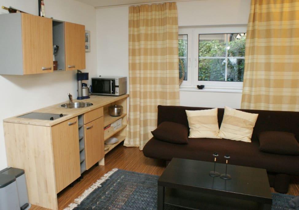 Appartement mit Schlafcouch und Küchenzeile