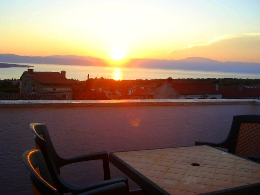 The sunset seen from the balcony