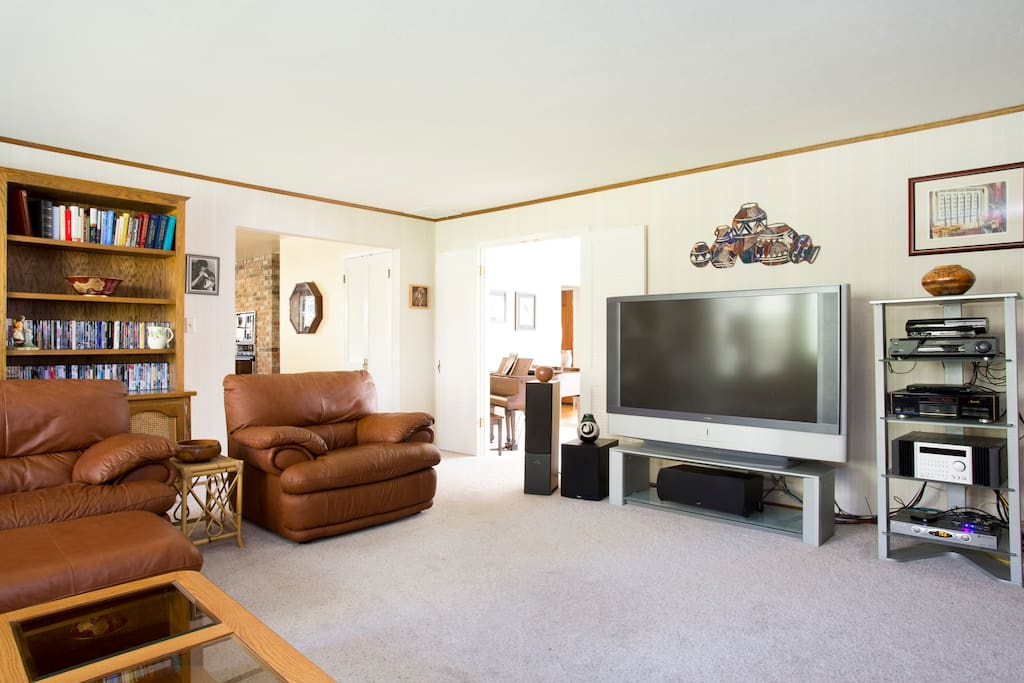 Family Room with large HD TV and surround sound stereo