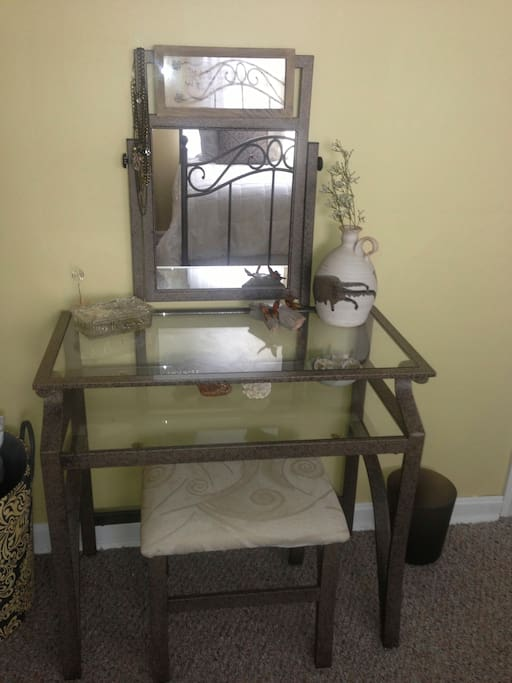 vanity and stool in twin bedroom #1  can be used as desk