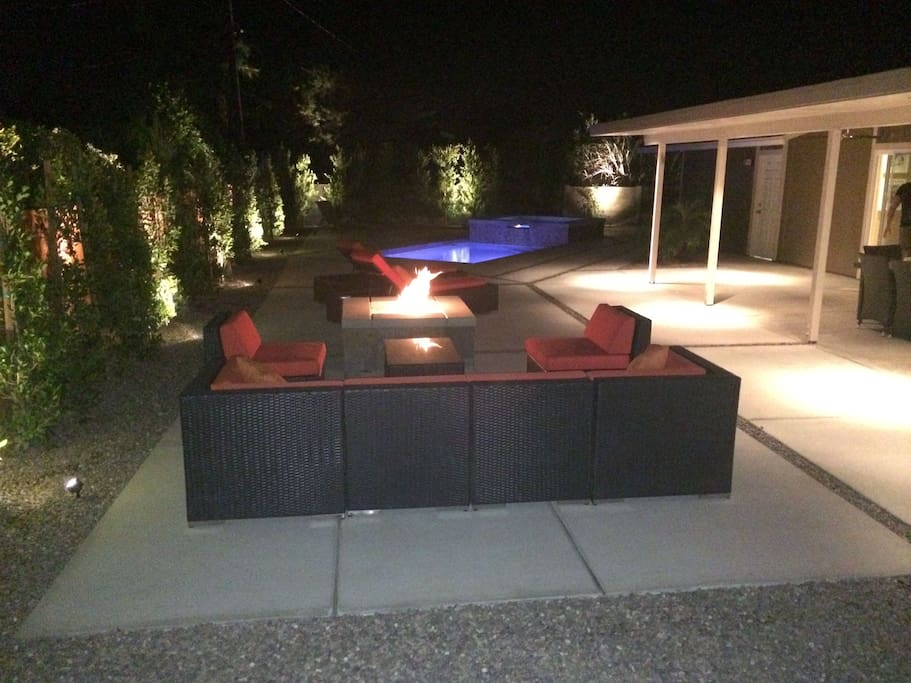 Firepit at night.  Perfect for entertaining