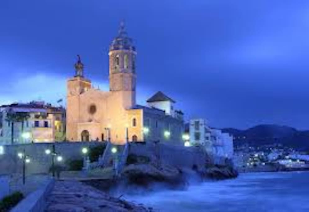 Sitges iconic Church, 1 minute walk.