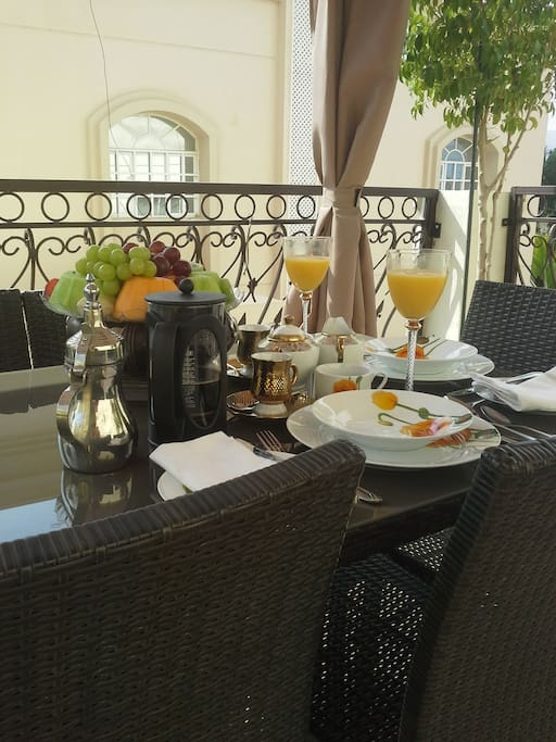 Self Service Continental style Breakfast you can enjoy on the roof Terrace