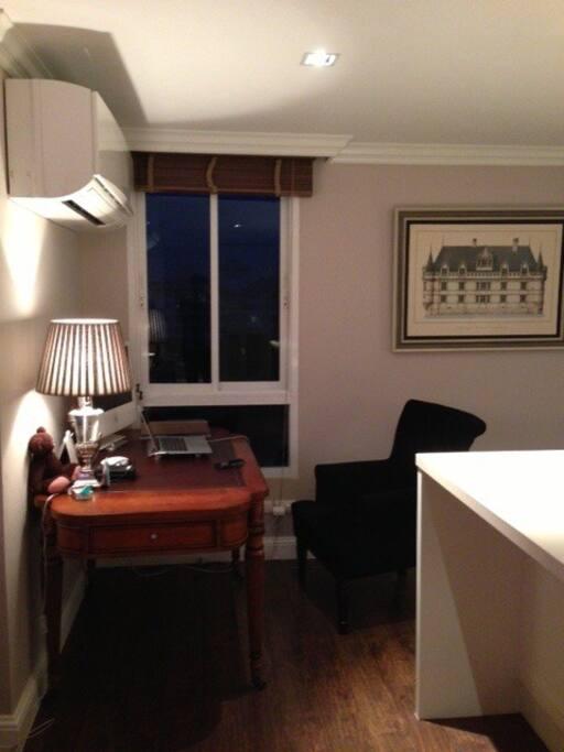 Desk in the bedroom.