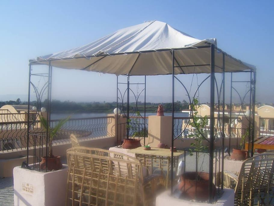 Our Roof Terrace with views of The Entire West bank and Valley Of the Kings