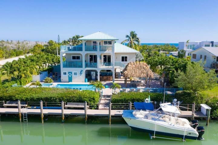 Waterfront Villa Sombrero Beach Rd FL Keys Pool, Dock, Spa,