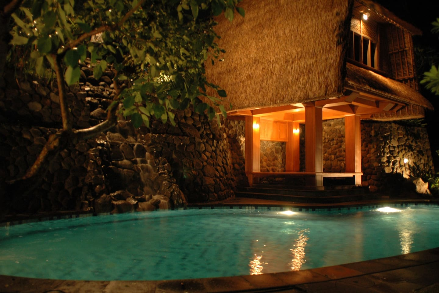 Our pool at night