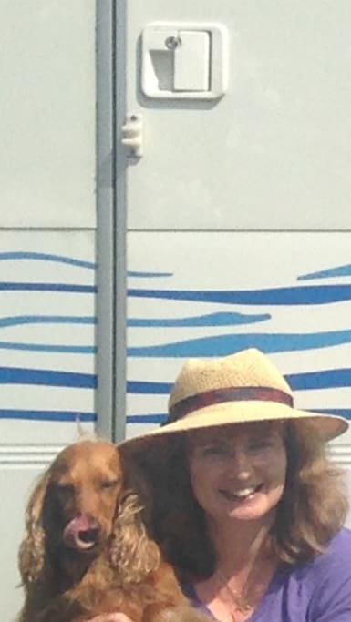 Penny and Sophie at the entrance to the RV.