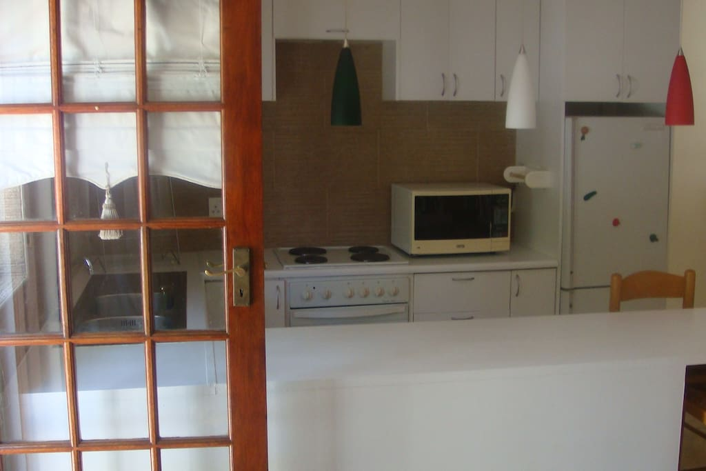 fully furnished kitchen with private garden outside