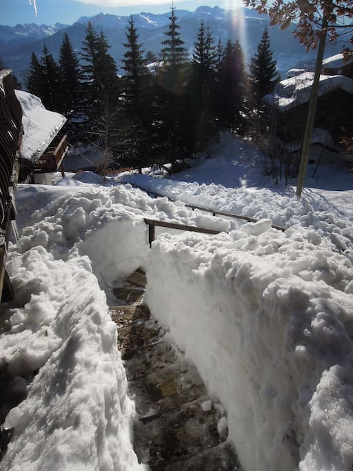 The stairs leading to the chalet from the parking lot, full of snow!