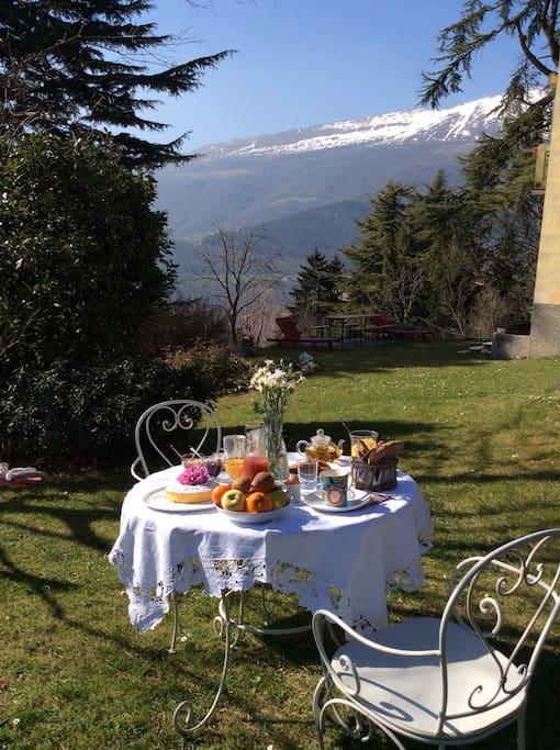 La colazione in giardino