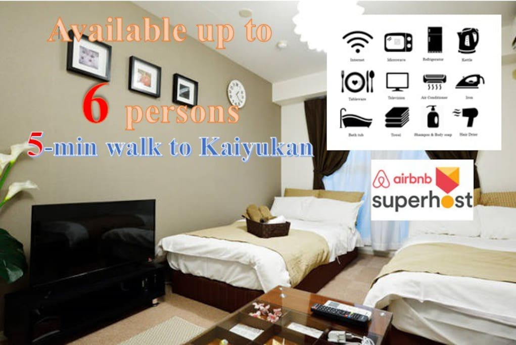 Each room is fully equipped with bathroom, kitchen and other necessary amenities like refrigerator, TV, hairdryer, iron, microwave, electric kettle....
