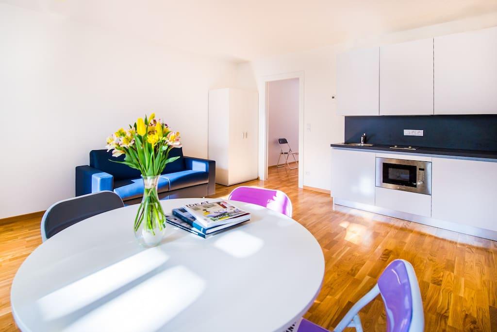 Living room and kitchen corner