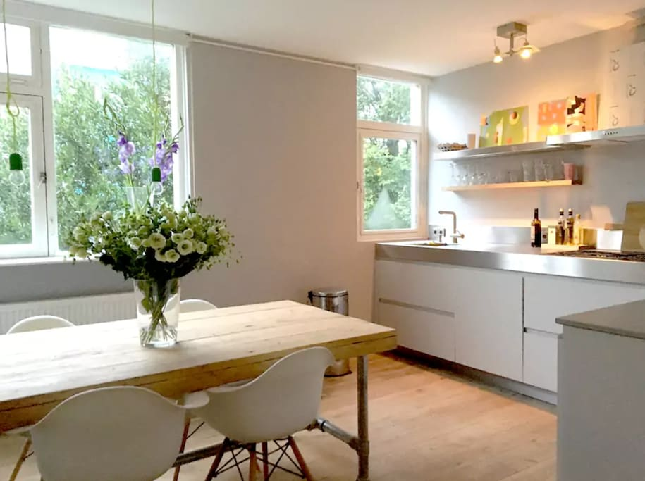 New design kitchen with huge table always seems to bethe heart of the house