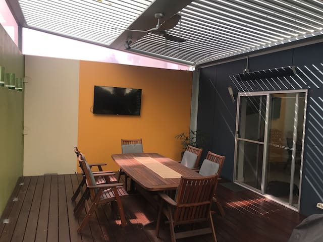 Outdoor entertaining area - TV, BBQ, heater and fan