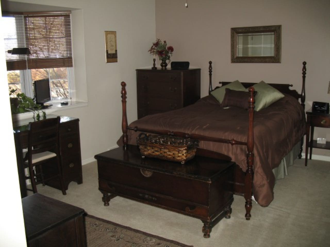Master bedroom with full size bed. Bay window. Double closets and additional shoe closet. 3/4 bath