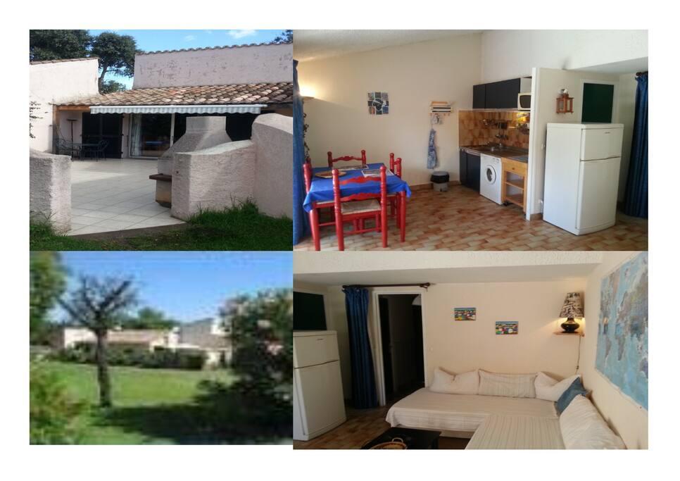 Emplacement et type de la Mini-villa avec très grande terrasse avec barbecue, store électrique.