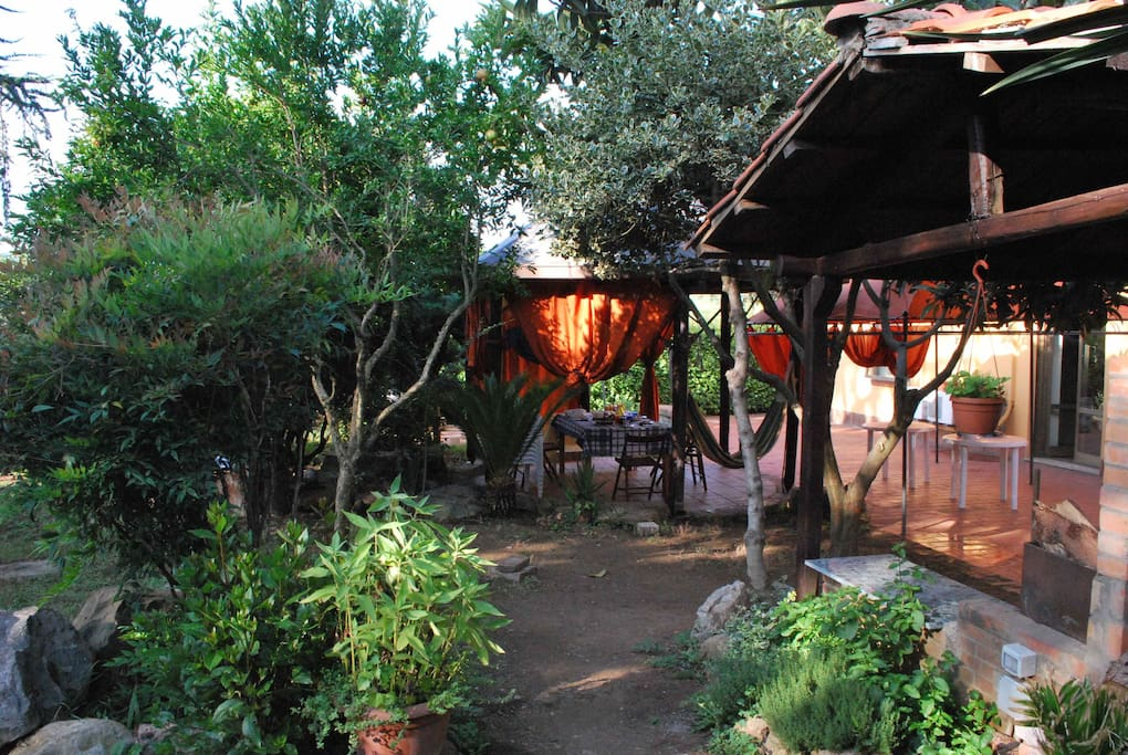gazebo, barbecue and wooden oven