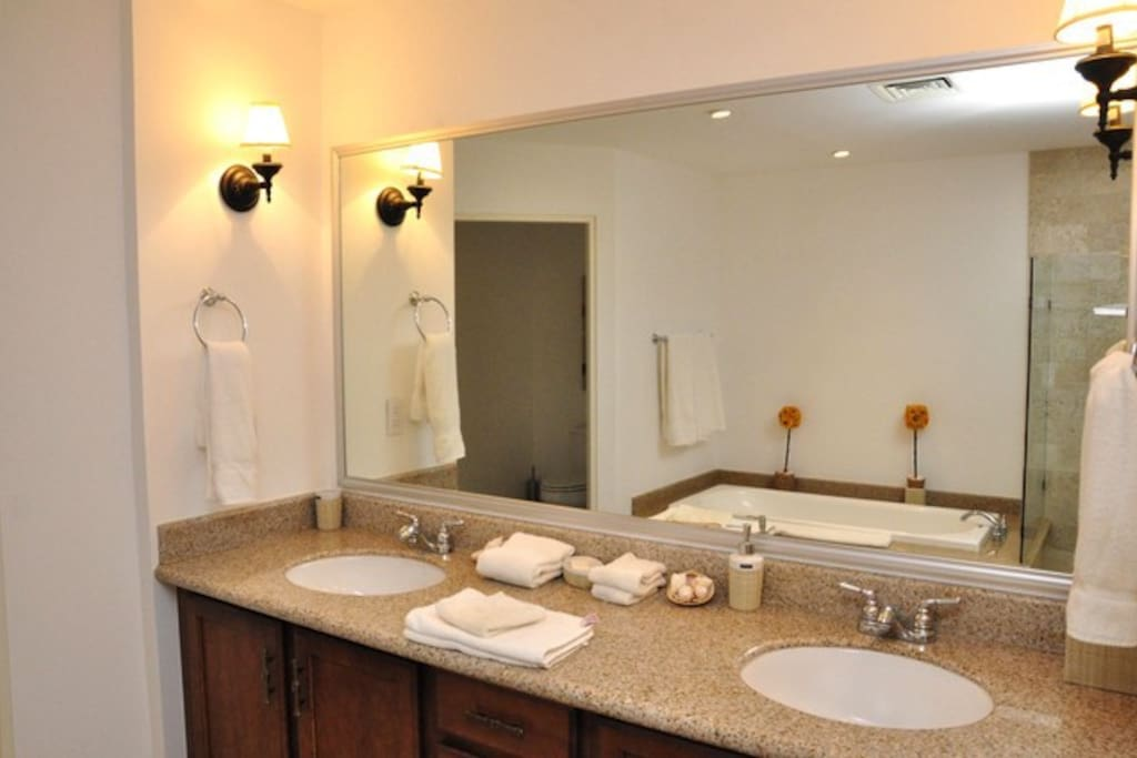 Master bath with tub, shower, and double sinks