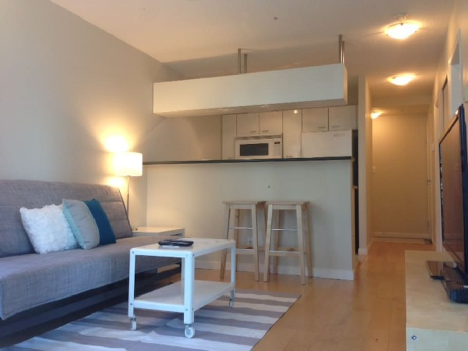 brightly lit living room with a dining area for 4 or more casual bar seating for 2!