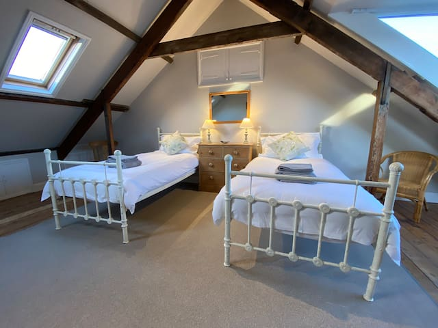 Top bedroom with views over the estuary and out to sea