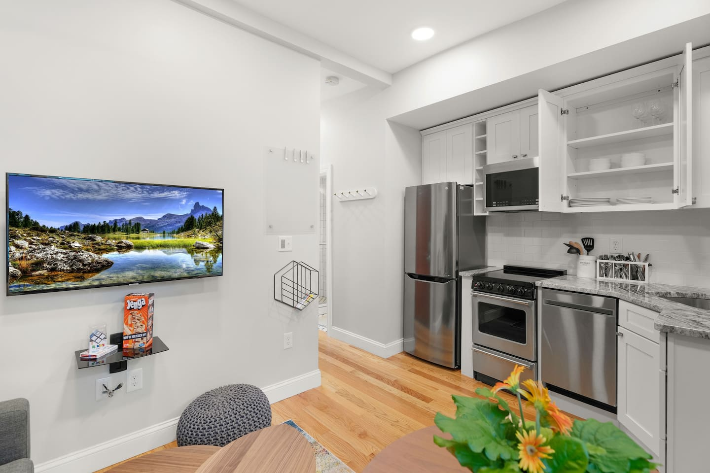 Open Concept Kitchen and Living area with TV
