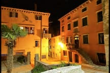 Labin old town by night