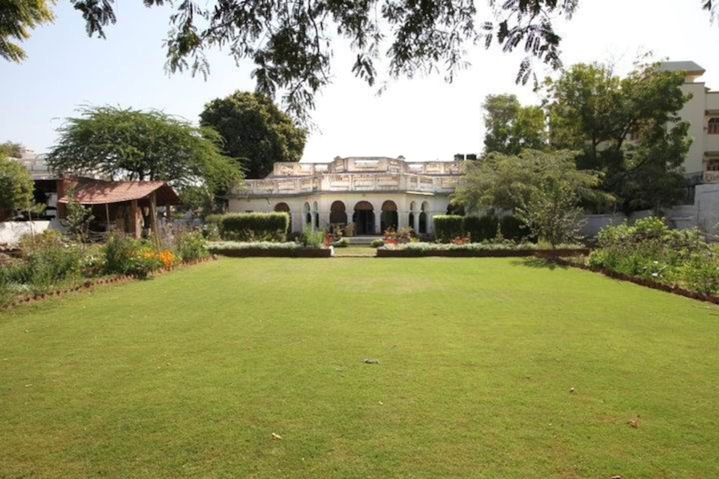 the lawn and bungalow