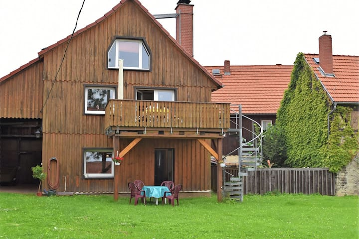 Cosy ground floor flat in the eastern Harz region with wood stove and private terrace