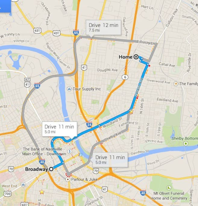 Just minutes away from Broadway and the Downtown honky tonks.  Even closer to all the hip spots in East Nashville like 5 Points, Three Crow, Barista Parlour, Family Wash, Mitchell's Deli, and more!