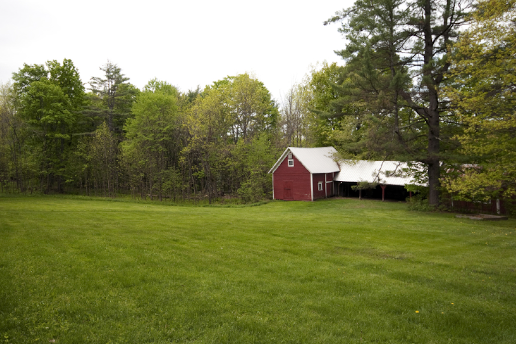 View of barns from edge of field--Barns have since been torn down and rebuilt!