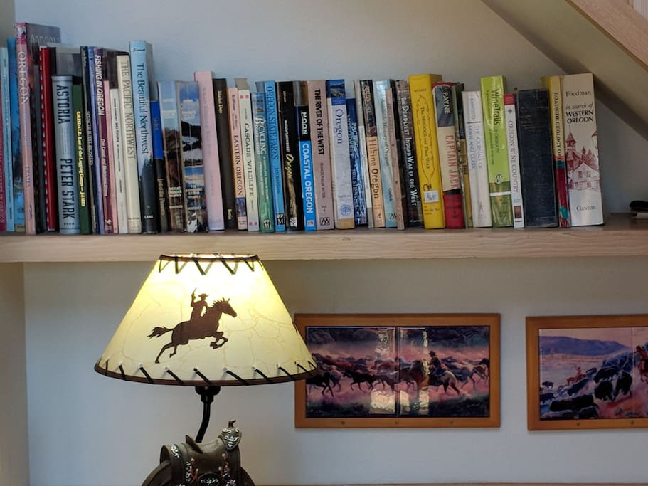 An excellent collection of books about Oregon history, hiking, fishing, biking, wine, etc. adds to the fun.