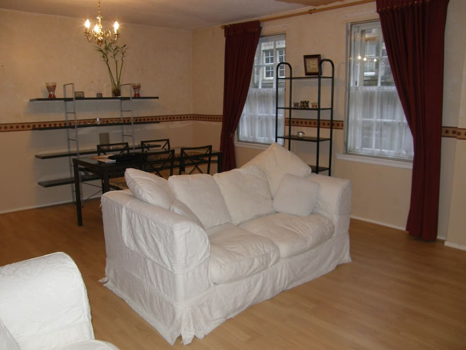 Large comfortable Living/dining room with sofa bed.