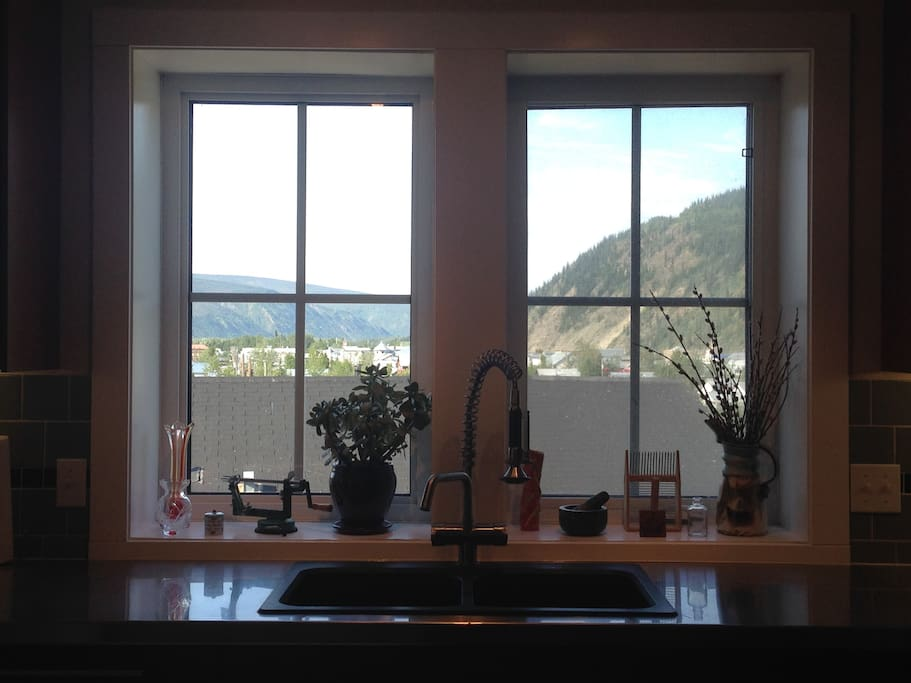 View of town from kitchen sink