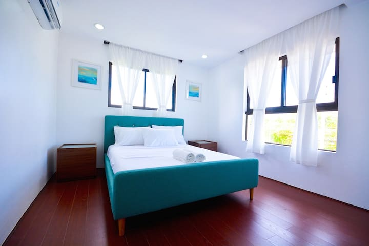 Bedrooms 1, 2 & 3 with a queen bed